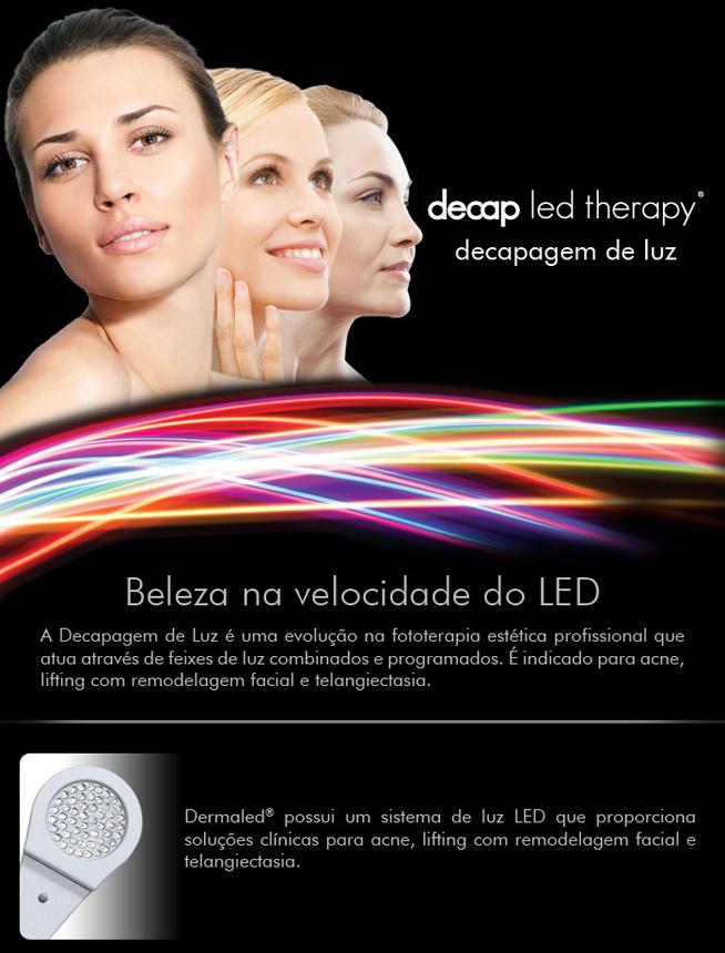 Decap led therapy decapagem de luz com led. A beleza na velocidade do LED. A Decapagem e luz é uma evolução na fototerapia estética facial profissional que atua através de feixes de luz combinados e programados. É indicado nos tratamentos de acne, lifting com remodelagem facial e telangiectasia. Dermaled possui um sistema de luz LED que proporciona soluções clínicas para acne, lifting com remodelagem facial e telangiectasia.