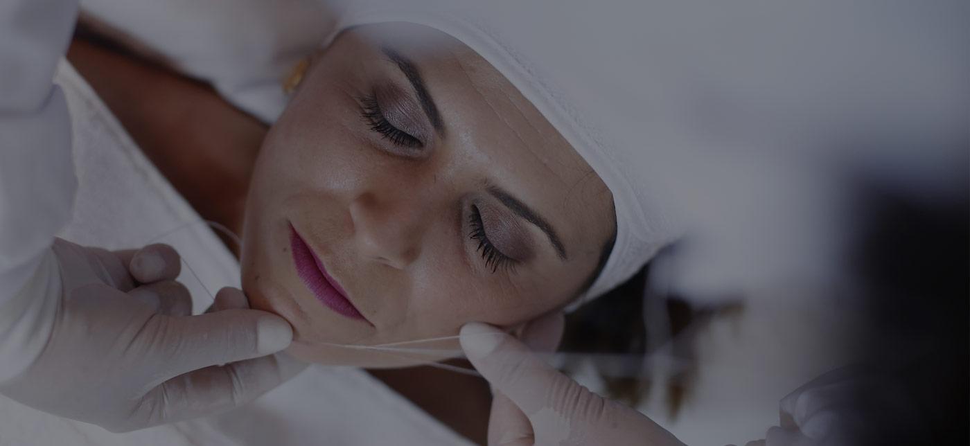 Depilação facial com linha