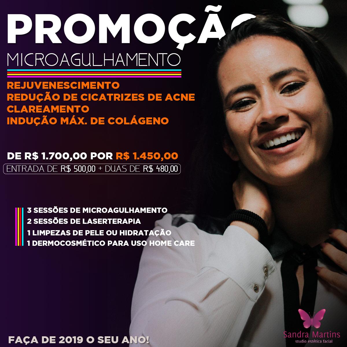 IMPERDÍVEL! O Studio Sandra Martins está com uma promoção especial de Microagulhamento para esse final de ano.