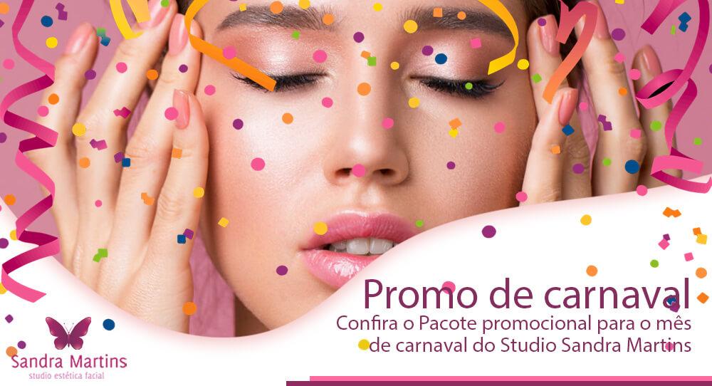 Pacote promocional para o mês de carnaval do Studio Sandra Martins com: 1 sessões de limpeza de pele profunda + 1 hidratação + 1 aplicação de vapor de ozônio + 1 argiloterapia + 1 design de sobrancelha + 1 depilação du buço com linha